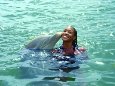 Teri with dolphin