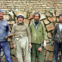 These Hazara tribesmen,  now working as stone masons, originally came from Mongolia and the steppes of Inner Asia
