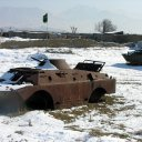 Burned out wrecks of Russian troop carriers still dot the country side