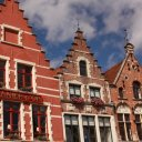 Amazing architecture in the main square, Bruges