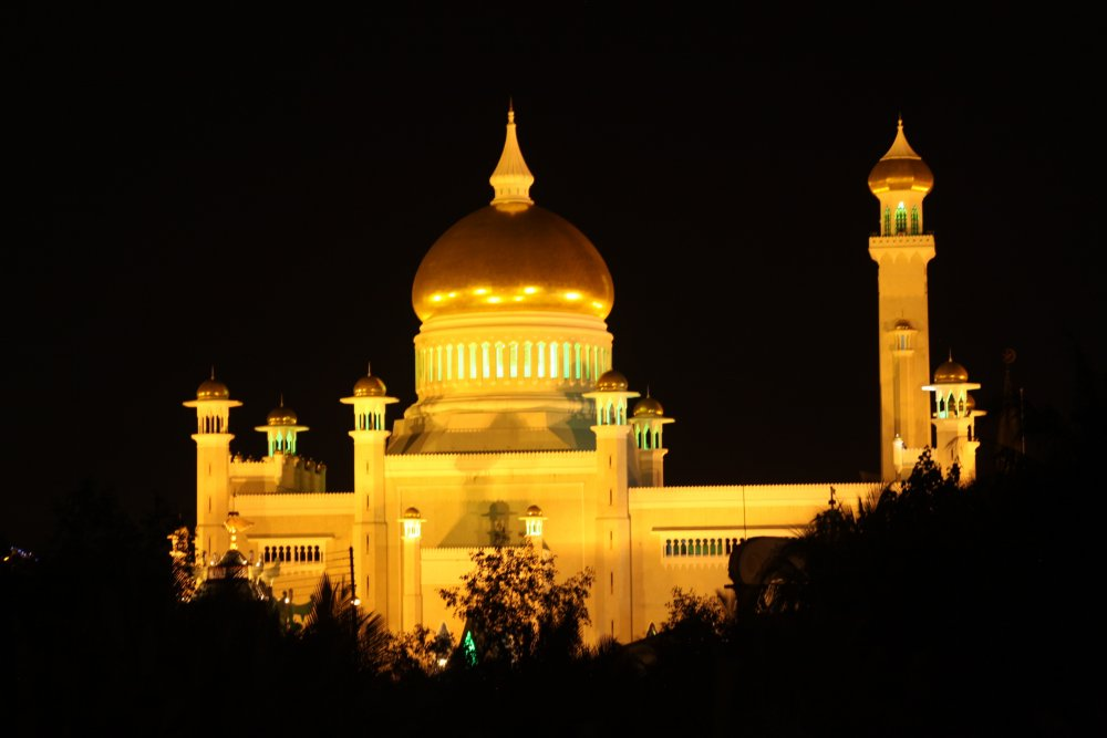 Mosque at night in Brunei's capital city