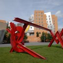 A post modern sculpture to complement the post modern building in the background on the main campus of M.I.T.