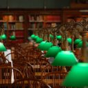 Lights and chairs in the reading room of the Boston Public Library