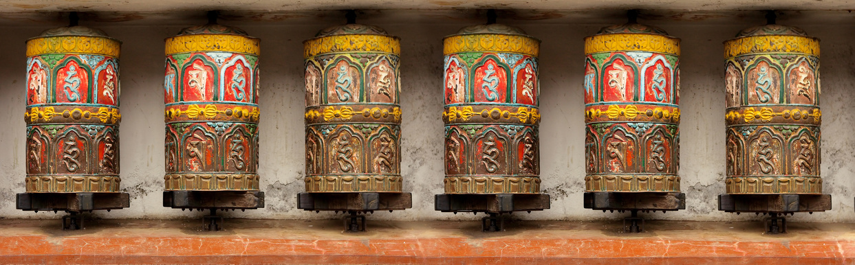 Pattern - Buddhist Meditation prayer wheel in Kathmandu, Swoyambhunath