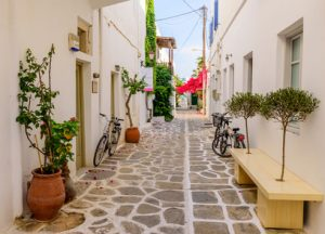 street in the old town of Parikia, Paros island, Cyclades, Greece.