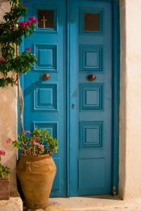 Colored door in Parikia - Paros - Greece