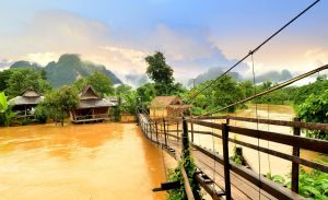 Vang Vieng Laos landmark and wooden brigde