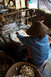 Vietnam woman was weaving silk
