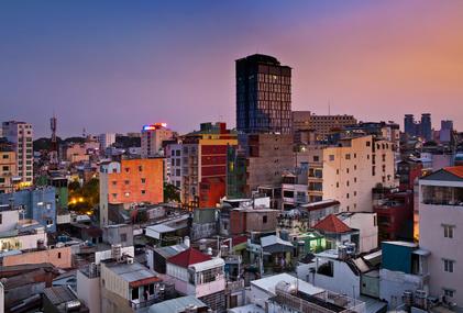 Night Urban City Skyline, Ho Chi Minh City, Vietnam.
