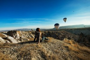 lonely traveler looking into the Cappadocia, Central Anatolia, T