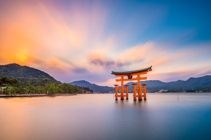 Miyajima Shrine Gate in Hiroshima, Japan.