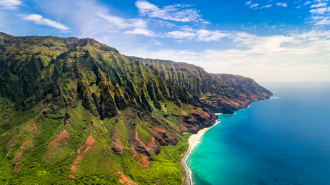 Aerial landscape view of spectacular Na Pali coast, Kauai