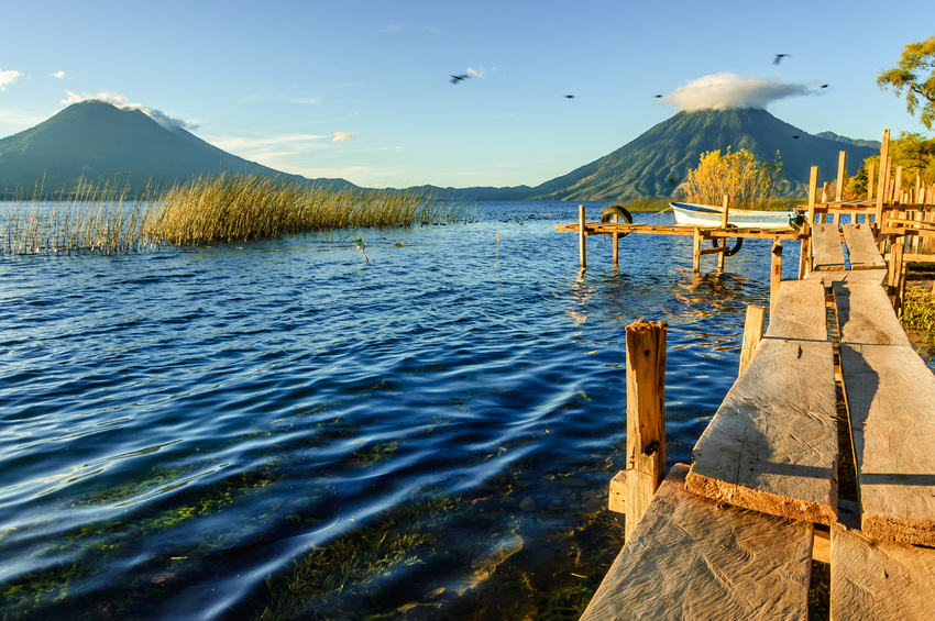 Early morning on three volcanoes, Lake Atitlan, Guatemala