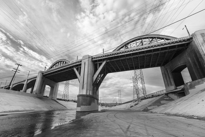 Los Angeles River and 6th Street Bridge