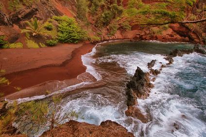 Kaihalulu red sand beach in east Maui island, Hawaii