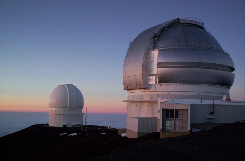 observatories at sunset