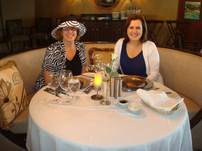 Mom and Debbie in the ship main dining room