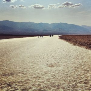 Badwater on an extreme heat day, 130 degrees Fahrenheit