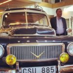Inside volvo headquarters, next to one of their classics!