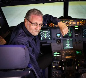 Peter Greenberg in the flight simulator at Etihad Academy - Photo credit: Courtney Crockett