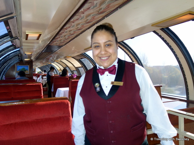 """Car Captain Andrea in the Vista Dome dining car on the Napa Valley Wine Train"""