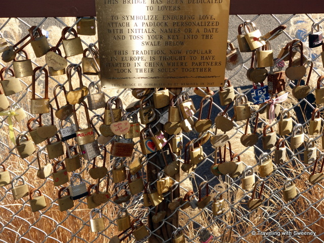 """Love Locks on bridge from the station to the platform for the Napa Wine Train"""