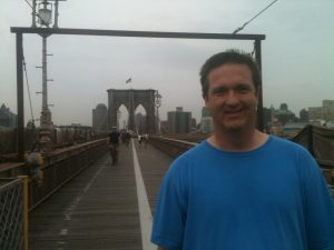 Author on the Brooklyn Bridge
