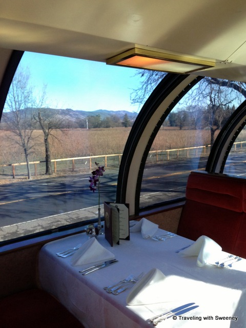 """Our table in the Vista Dome car on the Napa Wine Train"""