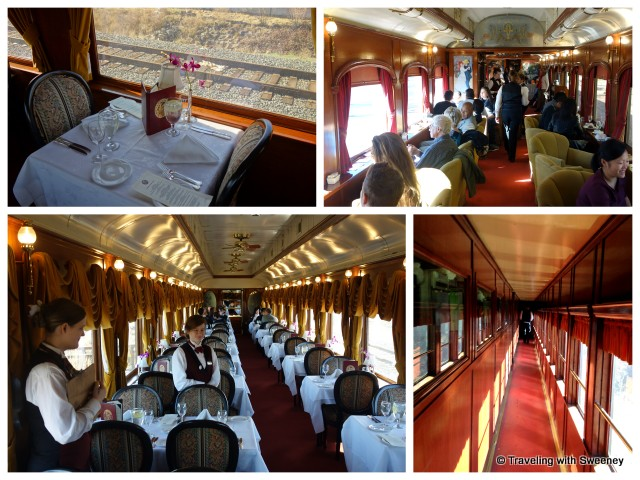 """From bottom left: Le Gourmet Express dining car, table for two in Le Gourmet, Lounge car, corridor on Napa Valley Wine Train"""