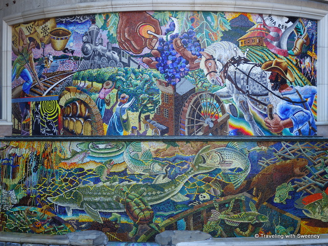 """Alan Shepp's mosaic fountain, Ars Longa Vita Brevis (Life Is Brief But Art Endures) at the Napa River Inn's Riverbend Performance Plaza"""