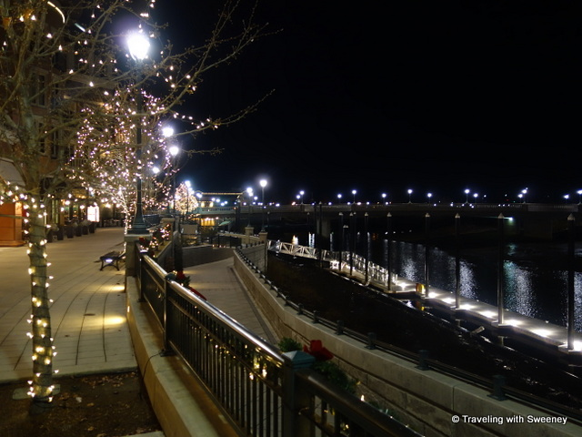 """Lights along the River Walk at night, Napa"""