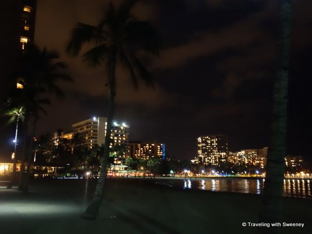 """Lights of Waikiki Beach and the Hilton Hawaiian Village, Honolulu"""