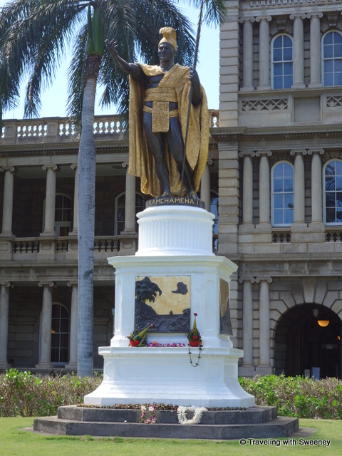 """ Statue of King Kamehameha I, Hawaii's first king in downtown Honolulu"""