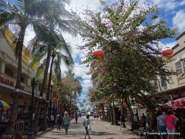 """Pedestrian street in Chinatown, downtown Honolulu"""