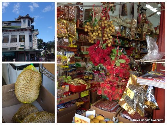 """""""Wo Fat Chop Sui, Sun Chong Company market and durian, Honolulu"""""""