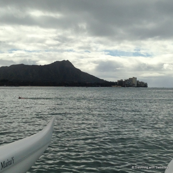 """Diamond Head seen from a canoe, Honolulu, Hawaii"""