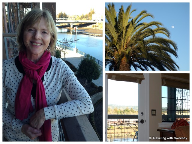 """Plaza Deluxe room balcony and views at Napa River Inn"""