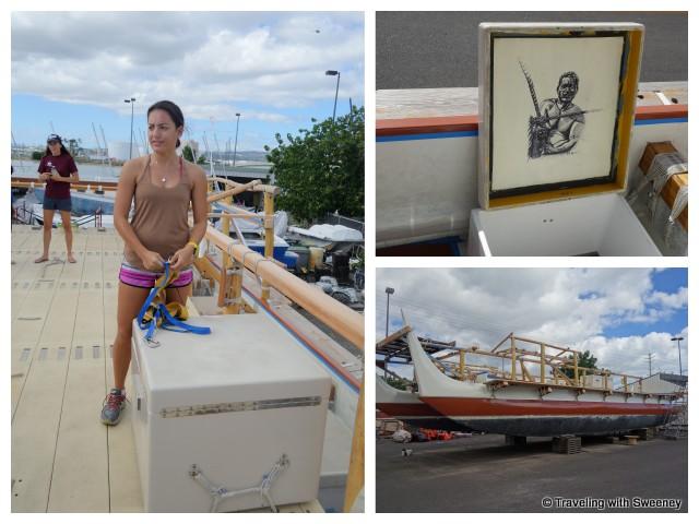 """Polynesian Voyaging Society crew and boat in Honolulu"""