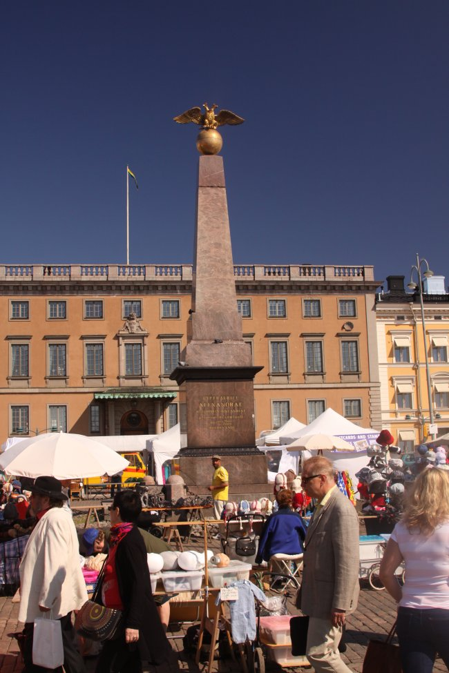 Monument and market along the waterfront
