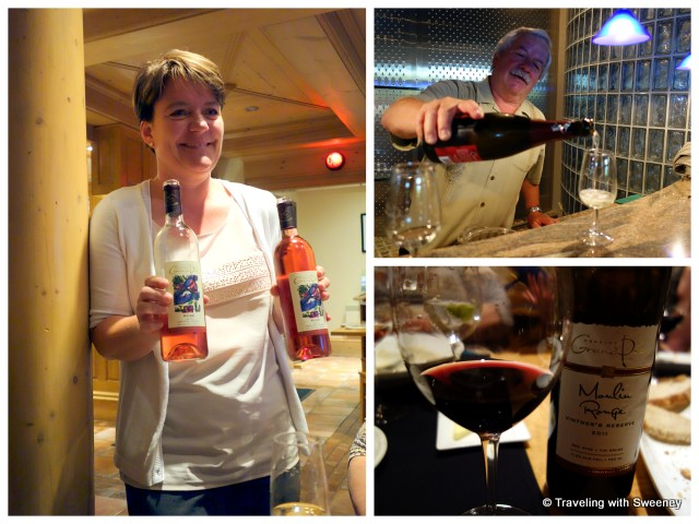 """Restaurant manager, Beatrice Stutz, Hanspeter Stutz, and one of my favorite wines -- Grand Pré Moulin Rouge"""