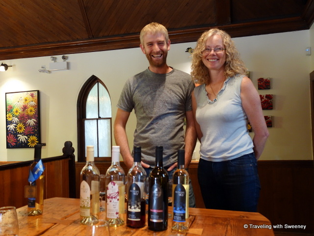 """Winemaker Ben Swetnam and Winery owner Lorraine Vassalo at Avondale Sky Winery"""