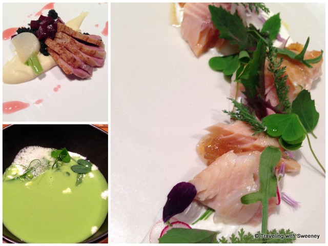 """From bottom left: Chef Dave Smart's Chilled Pea Soup, Duck Breast with parsnip puree, Smoked Char"""