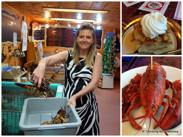 """""""Hall's Harbour General Manager Sharla Cameron selecting my live lobster, lobster ready to eat, and their signature apple bread pudding for dessert"""""""