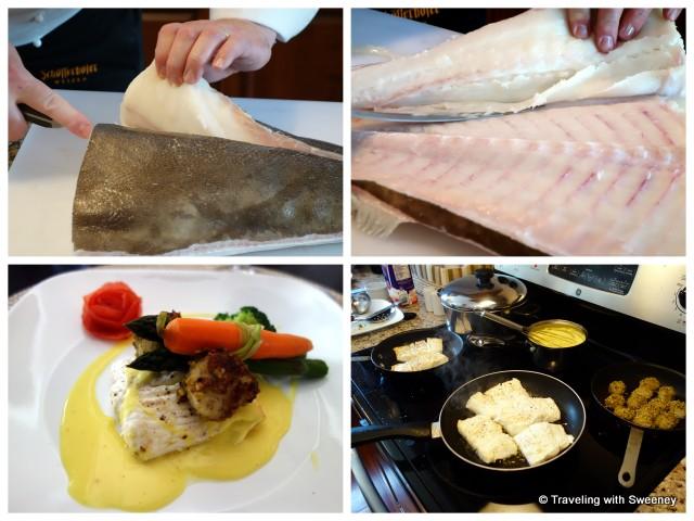 """Chef Konrad Haumering preparing fresh halibut"""