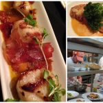 """Dinner at Le Caveau - Grilled Nova Scotia Sea Scallops with prosciutto, Sweet Potato Gnudi"""