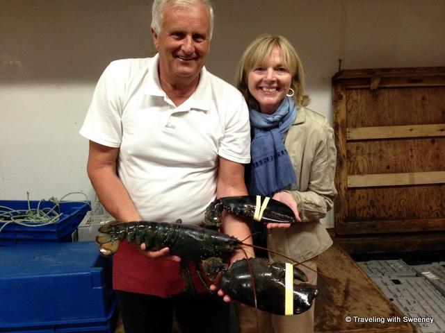"""""""Handling a huge live lobster at Hall's Harbour Lobster Pound"""""""