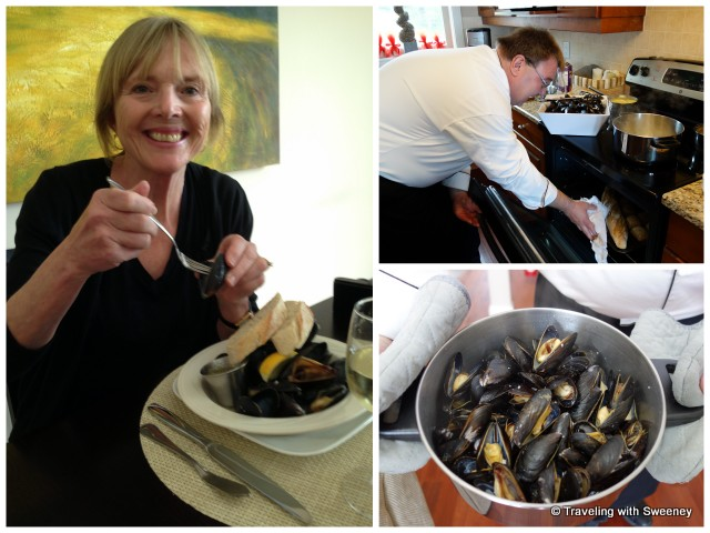 """Chef Konrad Haumering in the kitchen at Atlantic Oak Island Resort; my first mussels experience"""