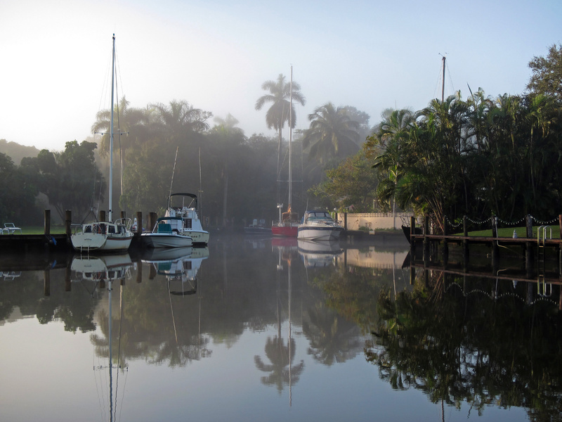 Dawn on a foggy South Florida morning on Fort Lauderdale's New River