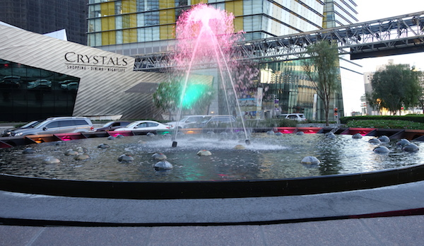 One of the dancing neon water formations in front of ARIA