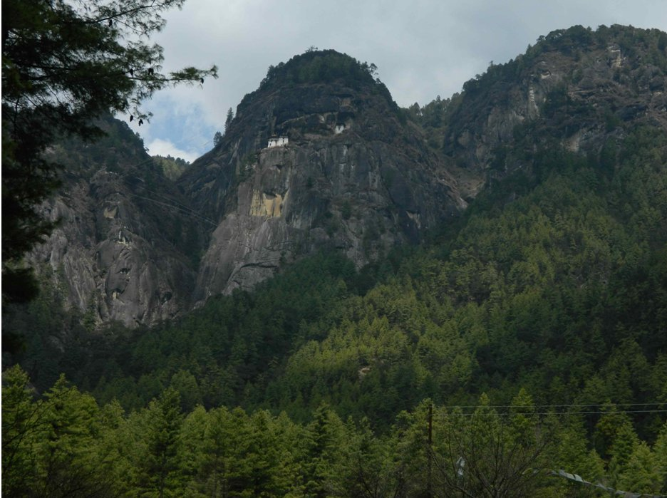 View of the Taktsang monastery from the trailhead at 8,200'.